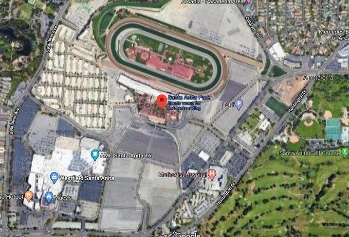 A satellite view of Santa Anita Park in Arcadia