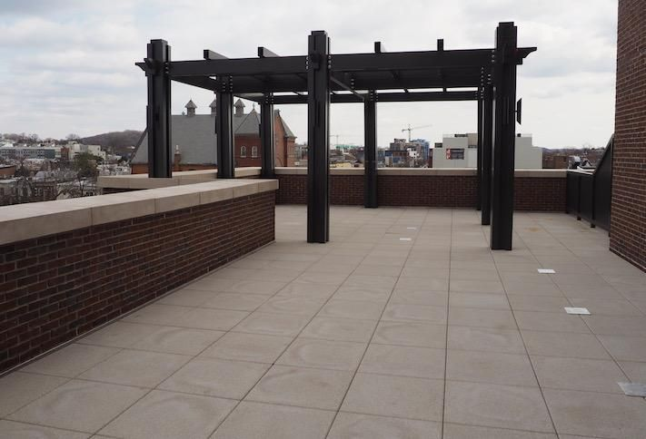 An 1K SF private terrace in a fifth-floor two-bedroom unit in the Avec building on H Street.