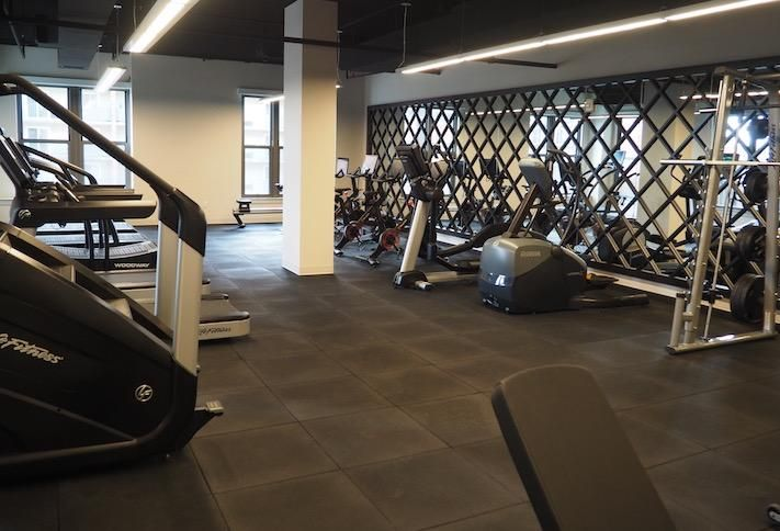 The fitness center in the Avec building.