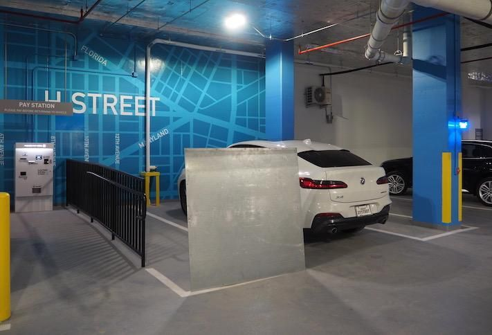 The retail parking area in the Avec building's garage.