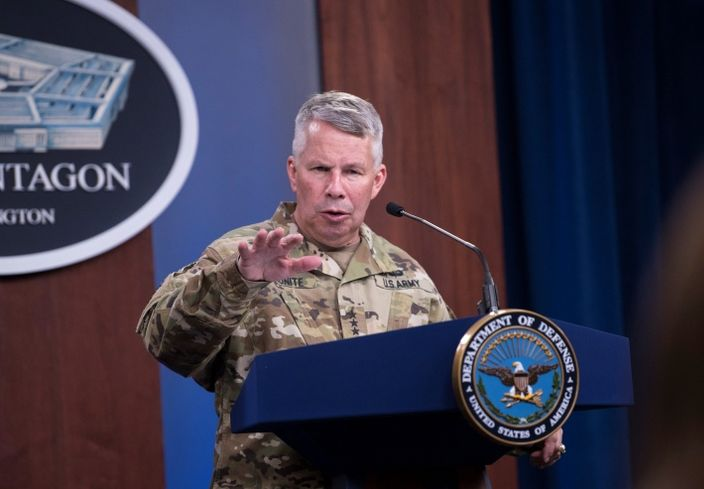Army Lt. Gen. Todd Semonite, commander of the Army Corps of Engineers, briefing reporters at the Pentagon about Corps support of the Defense Department's coronavirus response.