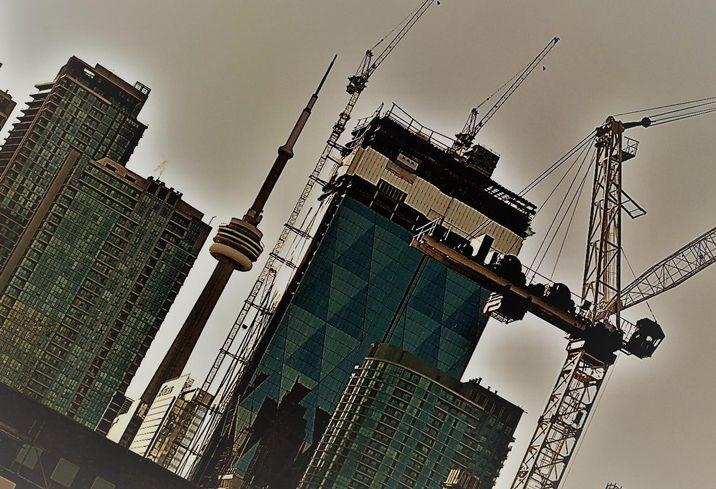 Downtown Toronto cranes