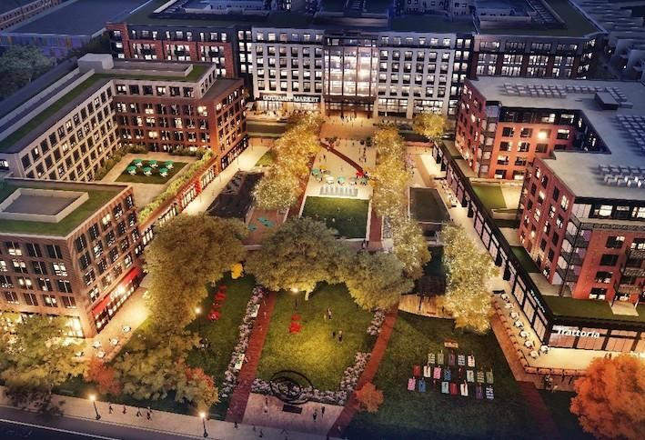 A rendering of the Parks at Walter Reed development, with The Hartley in the center.