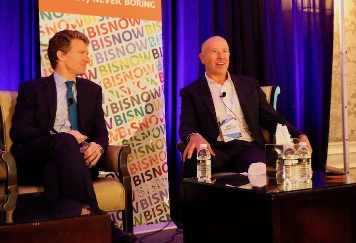 Walker & Dunlop CEO Willy Walker and Starwood CEO Barry Sternlicht at a 2018 Bisnow event.