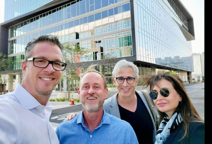 RDC President and CEO Brad Williams with team members Sean Slater, Alan Pullman, Mitra Esfandiari visiting the completed The Lot office campus in West Hollywood where Studio One Eleven served as architect for CIM Group