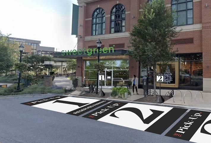 A rendering of the curbside pickup spaces at Federal Realty's Pike & Rose development.