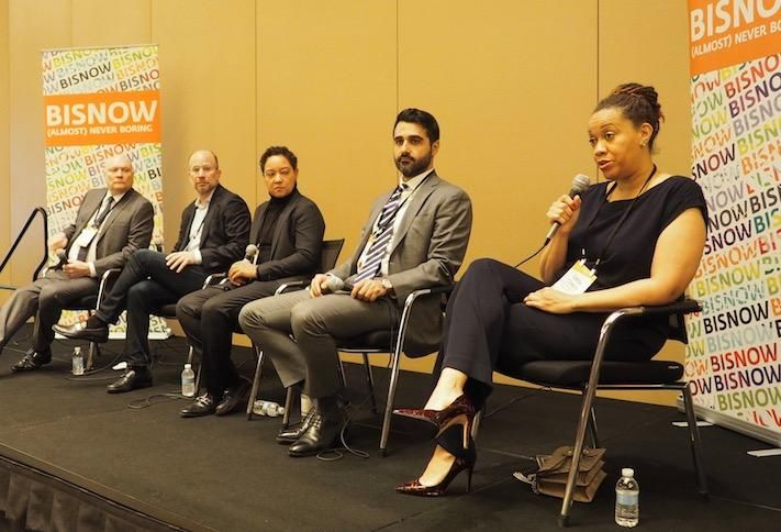 Real Estate Roundtable's Jeff DeBoer, Finmarc's Neil Markus, EB5 Capital's Angelique Brunner, Greysteel's Ari Firoozabadi and Amalgamated Bank's Carisa Stanley at a December Bisnow event.