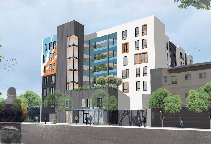 Rendering of Lamp Lodge, an 82-unit affordable housing community in downtown Los Angeles