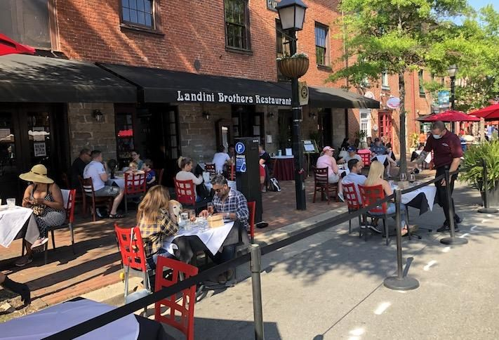 The patio seating area at Landini Brothers restaurant on King Street in Alexandria, photographed Sunday.
