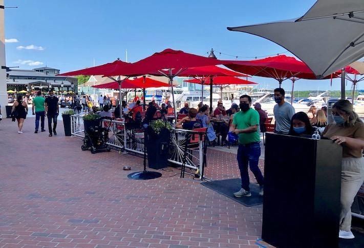 The outdoor patio at Vola's Dockside Grill on the Old Town Alexandria waterfront, photographed Sunday.