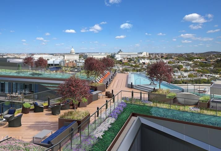 A rendering of the rooftop amenity space at Tishman Speyer's Crossing development.