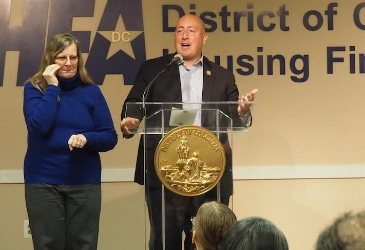 D.C.'s Acting Deputy Mayor for Planning and Economic Development John Falcicchio speaking at a January DCHFA event.