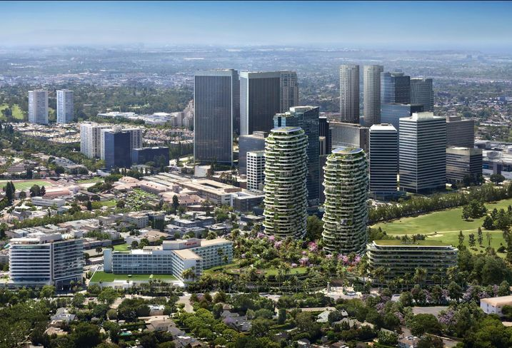 Rendering of Alagem Capital Group and Cain International's One Beverly Hills mixed-use project in Beverly Hills