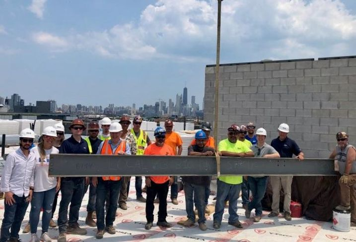 The topping off of Alcove Wicker Park.