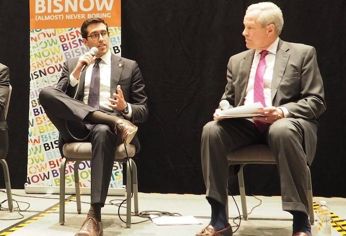 HUD's Alfonso Costa and National Multifamily Housing Council's Doug Bibby at a 2019 Bisnow event.