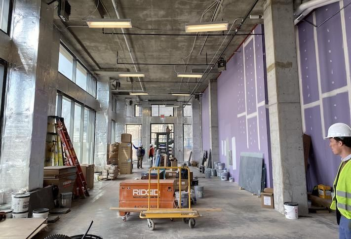 The inside of the retail space in the 1 M Street building that Scissors & Scotch leased.