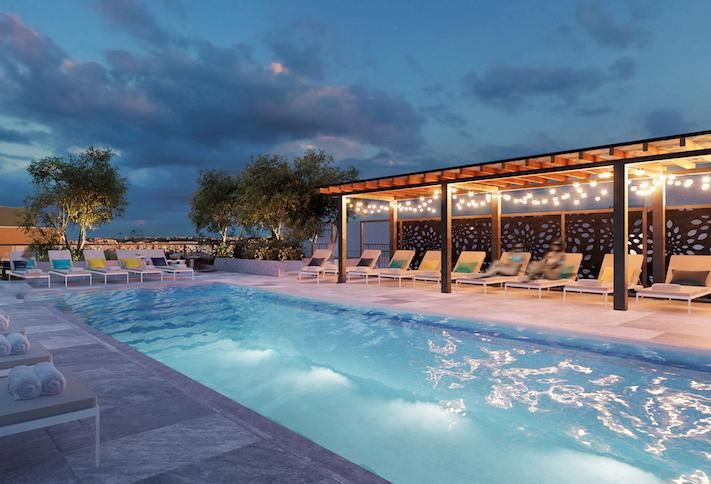 A rendering of The Kelvin's rooftop pool amenity, which is still under construction.