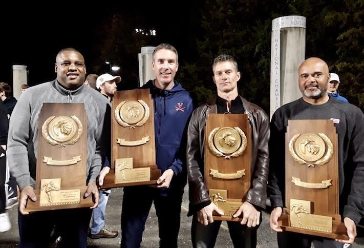 AJ Wood, second from left, with his University of Virginia soccer teammates who won four straight national championships.