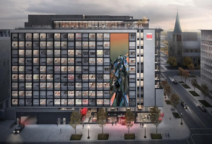 A rendering of the CitizenM Washington D.C. Capitol hotel at 555 E St. SW, scheduled to open August 27.