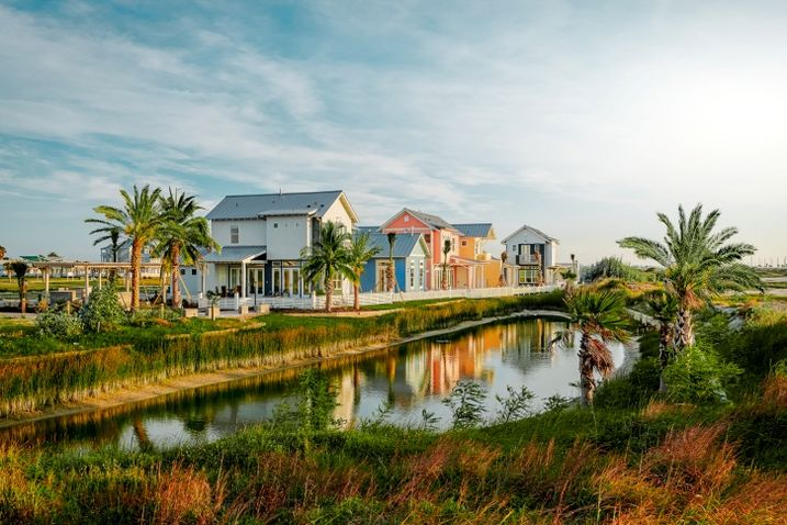 Single-family houses at Sunflower Beach Resort and Residences, a master-planned community in Port Aransas, Texas.