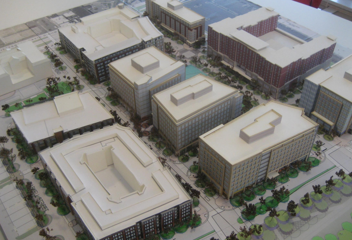 A model of the future Potomac Yard mixed-use development from JBG and MRP