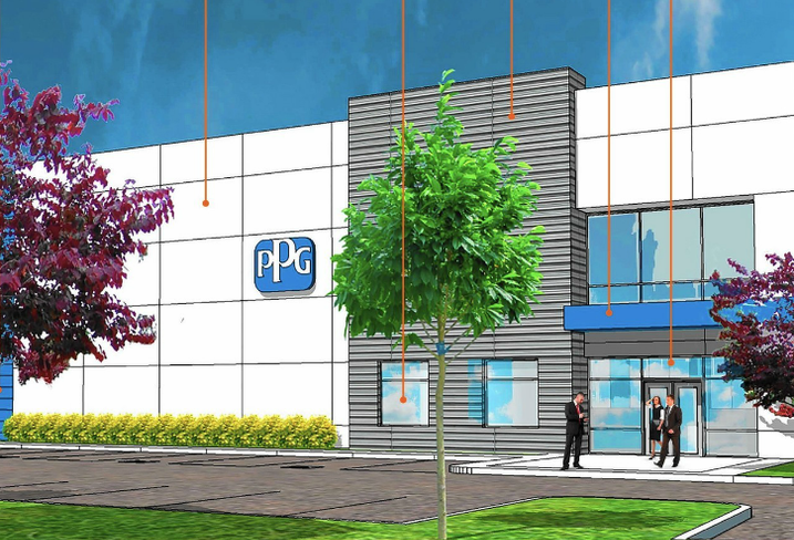A rendering of PPG Industries Aurora, IL HQ