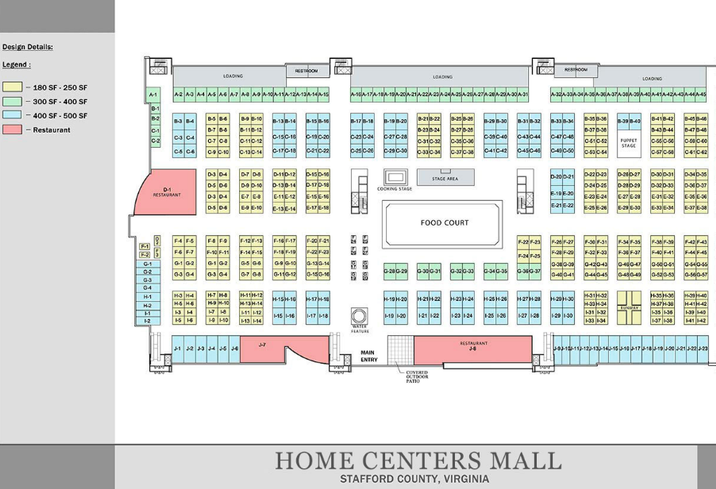 The floor plan of the forthcoming Home Centers USA mall in Stafford County, VA.