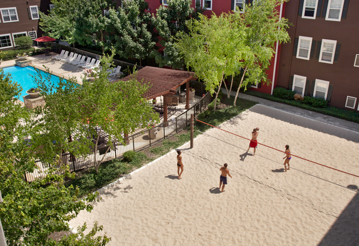 Pierce Education Properties include sand volleyball courts, like this one at the Commons on Kinnear Ohio State University.