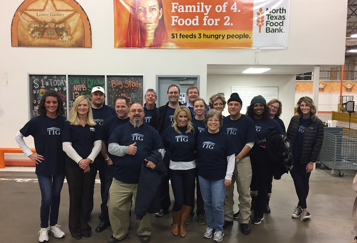 TIG volunteered at the North Texas Food Bank earlier this month and packaged more than 6,000 meals for the hungry.