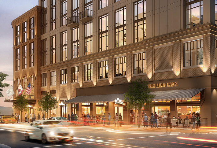 The Pendry Hotel San Diego is in the Gaslamp Quarter and is bordered by 5th and 6th avenues and J Street.