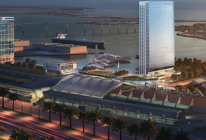 This photo shows the proximity of Fifth of the Fifth Avenue Landing convention center hotel to the San Diego Convention Center.