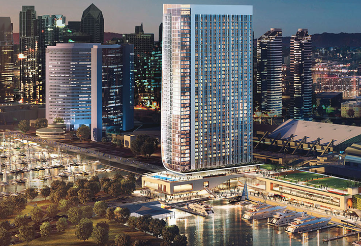 A rendering of the Fifth Avenue Landing with marina expansion The convention center hotel is at right and low-cost, shared lodging hotel at left.