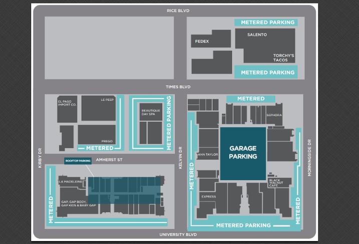 Rice Village Parking Map