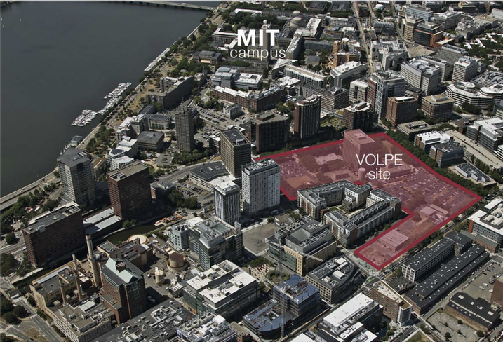Site of MIT's proposed development at Kendall Square in Cambridge