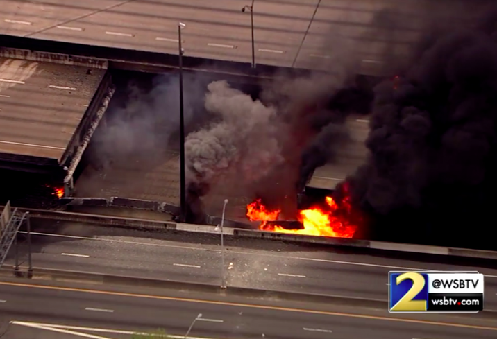 A section of I-85 in Atlanta collapses after fire Thursday, March 30, 2017
