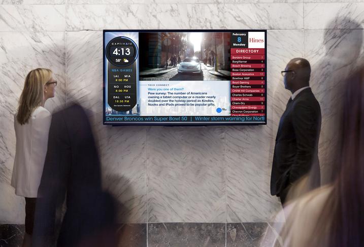 A Captivate lobby screen