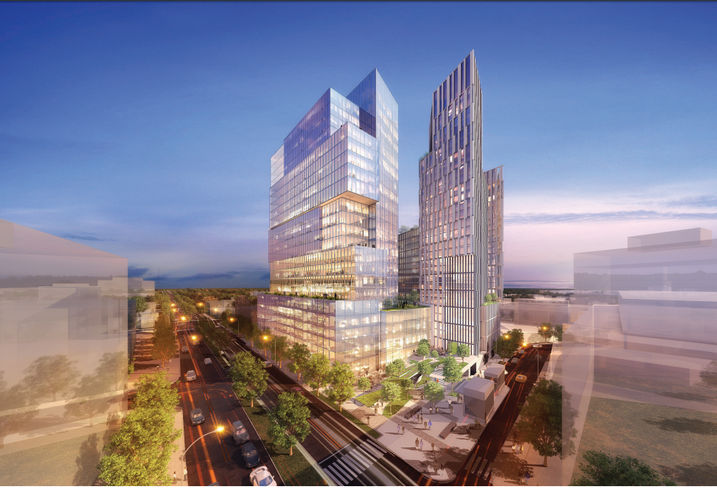 Rendering of Carr Properties planned redevelopment of the Apex Building in Bethesda