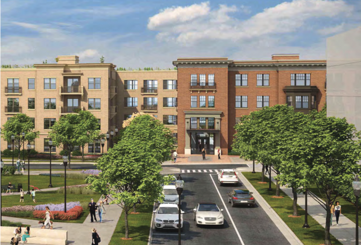A rendering of the two buildings in Phase 1 of MidCity's 1,700-unit RIA development