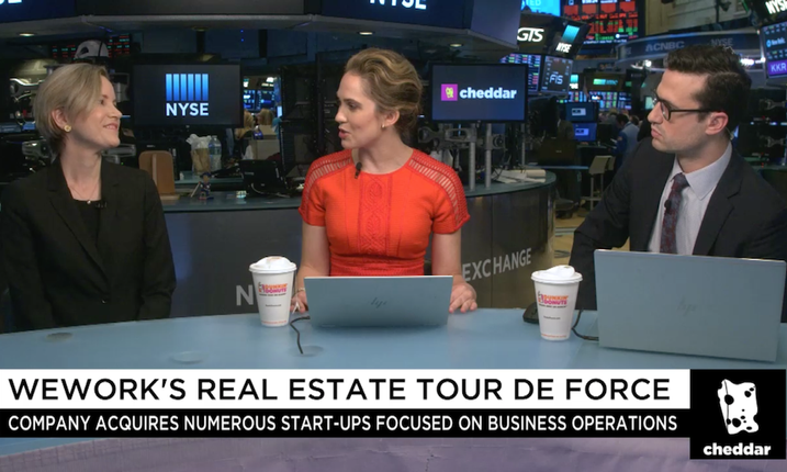 WeWork global head of mergers and acquisitions Emily Keeton being interview on Cheddar