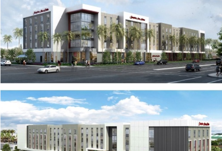 A rendering of the proposed Hampton Inn at the Anaheim Resort District.
