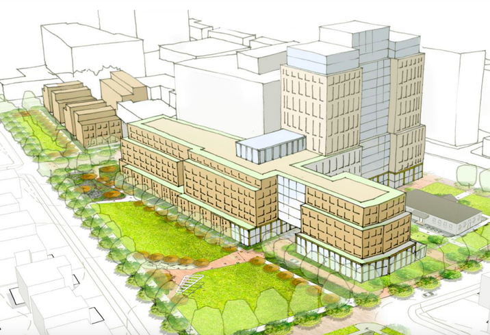 Rendering of the planned development and new green space from EYA and Bernstein Management Corp. in Chevy Chase, Maryland