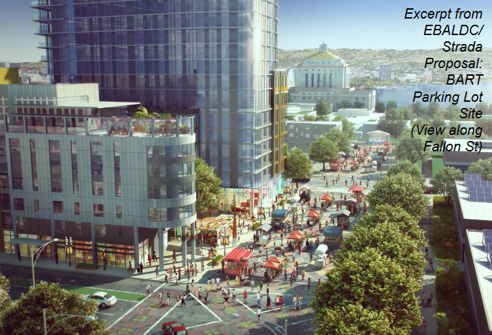 Rendering of the proposed mixed-use development for the Lake Merritt BART station site