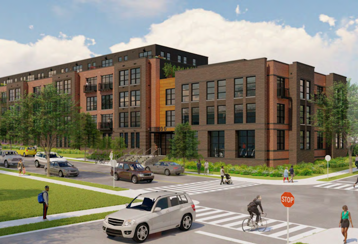 A rendering of MidCity's 108-unit project at 1400 Montana Ave. NE