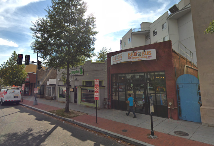 The retail strip at 5816-5830 Georgia Ave. NW where Petra plans an affordable housing project