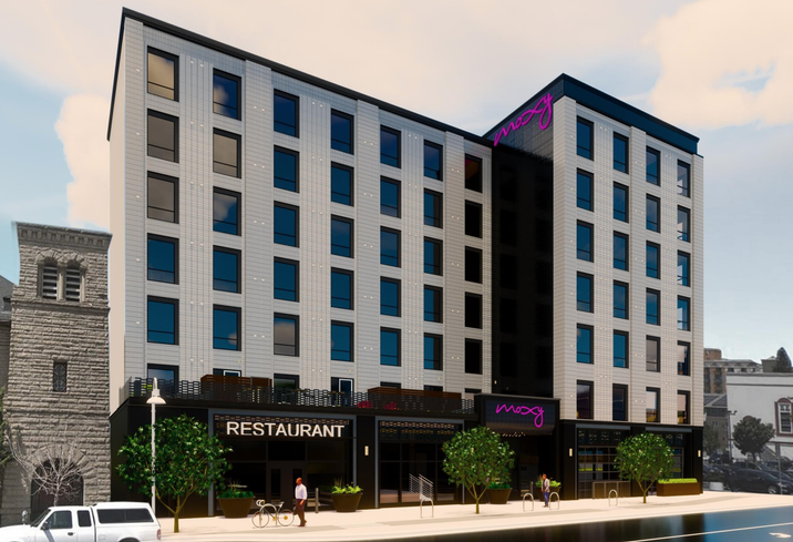 A rendering of EJF Capital and Tidewater's Moxy Hotel coming to Uptown Oakland in 2021.