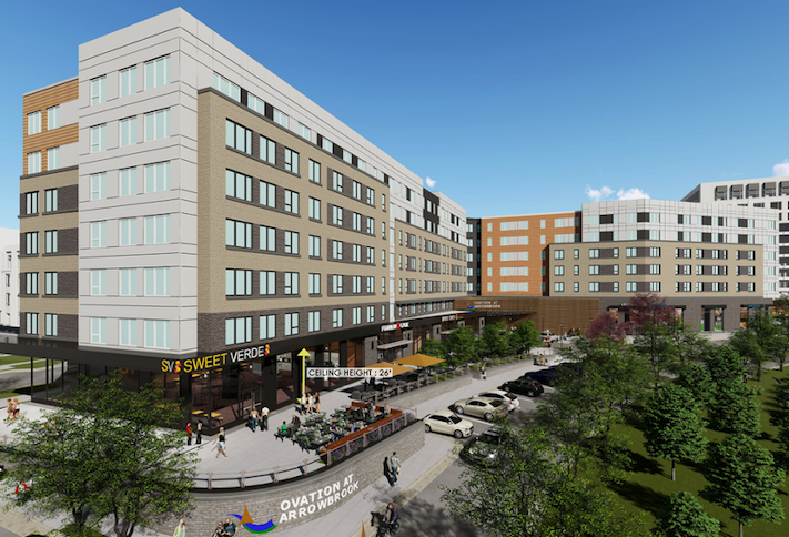 A rendering of one of the mixed-use buildings planned at Arrowbrook Centre in Herndon