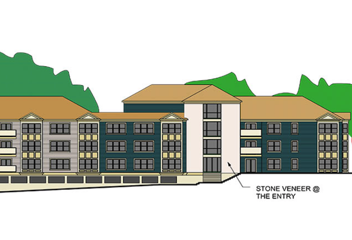 A sketch of the Skyview Condominium project planned at 3300 Brinkley Road in Temple Hills