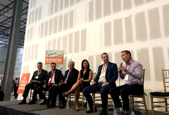 Panelists at Bisnow's industrial real estate event in Miami included Weiss Serota Helfman Cole's Joe Hernandez, Mitchell Property Realty CEO Ed Mitchell, Easton Group's Ed Easton, Duke Realty's Stephanie Rodriguez, CBRE's Larry Genet and Butters' Malcolm Butters.