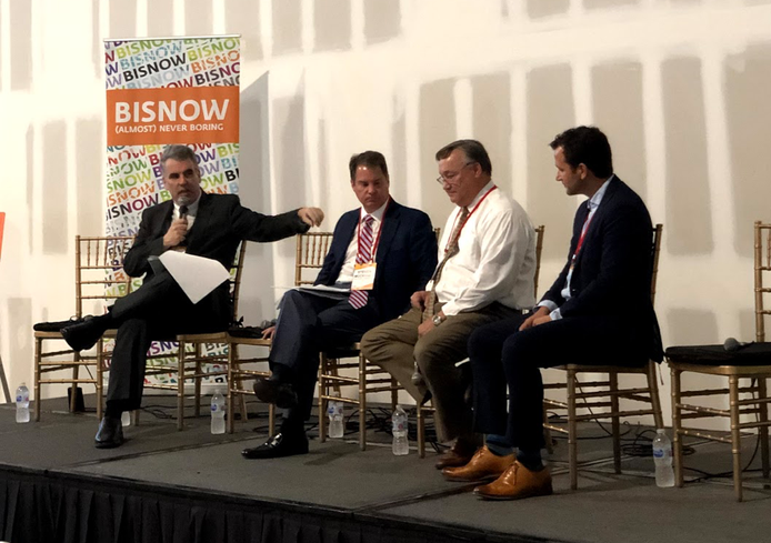 Greenberg Traurig shareholder Jonathan Gelman, McCraney Property Co. CEO Steve McCraney, PortMiami Head of Business Development and Marketing Don Wrinkle and Prologis executive Scott Gregory speak on a Bisnow panel June 27, 2019.