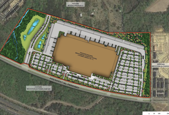 A site plan of the fulfillment center planned at Westphalia Town Center